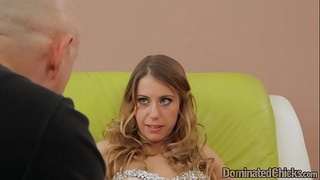 Roughfucked submissive gets restrained
