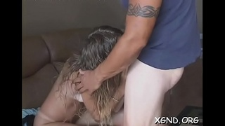 Hung guy penetrates sweet babe'_s tight cunt hardcore style