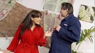 Plumber fucks the hell out of a horny housewife