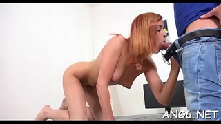 Elegant babe gets her constricted bald beaver stretched by stud