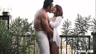 Romantic anal sex out in the balcony