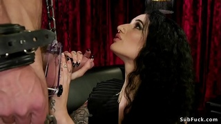 Busty domme anal fuck male with gimpmask