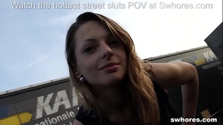 Skinny fox picked up in parking lot and fucked for few euros