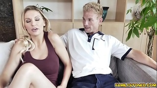 Stepmom lets stepson fuck her milf pussy as a reward!