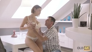 OLD4K. Busty girl receives sperm on body after sex with old partner
