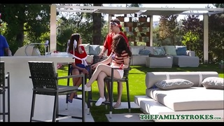 Family Threesome Fourth Of July Teen Step Sister Jennifer Jacobs And MILF Step Mom Ariella Ferrara Fuck New Step Brother