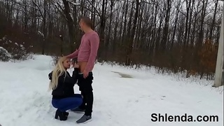 Winter sex in show outdoor. Sexy russian schoolgirl teen and mature daddy