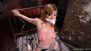 Natural busty redhead fingered and toyed