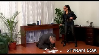 Sexy maid gets her wazoo spanked in female domination fetish