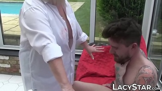 Artistic GILF Lacey Starr rides hard for creampie