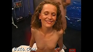 Hottie gets her face covered with spunk flow during gangbang