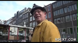 Marvelous amsterdam hooker rides a big hard cock passionately