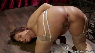 Lesbian Milf gets exposed ass whipped