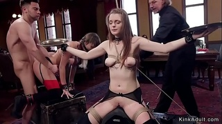 Sybian riding and fucking at orgy bdsm
