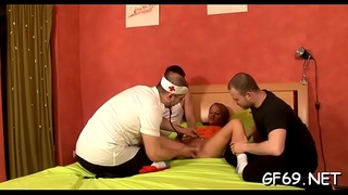 Demure hotty is being ravished by 2 very hungry hunks