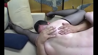 Undressed females domination on man in hot smothering video