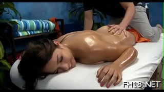 Nice-looking playgirl gets a hard fuck after a sensual massage