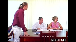 Lustful studs get lucky in fully dressed sex scenery