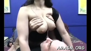 Non-professional beauties facesitting on man during smothering fetish