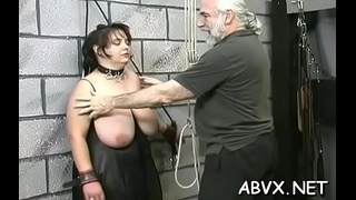 Naked woman extreme thraldom at home with horny man