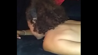 Freaky threesome interracial fuckfest, double blow jobs, doggy style and me licking pussy like a good lesbian slut