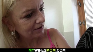 Old blonde mother and boy taboo sex in the kitchen
