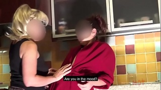 MOTHER AND DAUGHTER FROM ROMANIA HAVE LESBY SEX IN THE KITCHEN