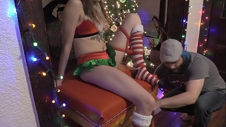 tied up Santa'_s Helper gets toys used on her