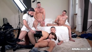 Anal inspectors wanna watch Tina Kay fucked &amp_ DP'_ed by 5 studs on porn set