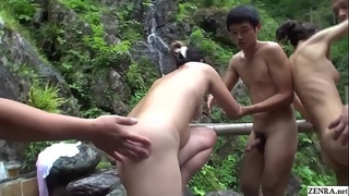 Uncensored JAV cheating wives raw sex orgy outdoor onsen