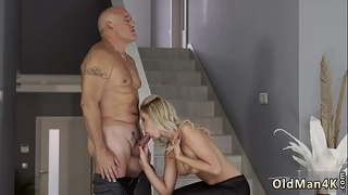 Old man sex with young girl and vintage movie Finally at home,