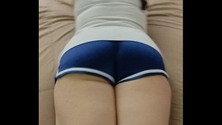 RUB YOUR HARD COCK ALL OVER HER SEXY SHINY BLUE SHORTS