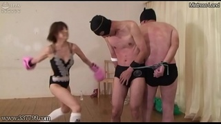 Japanese Femdom Strapon Pegging and Double Anal Fist