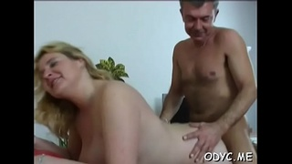 Younger slut is ready to take some old cock up her wet cum-hole