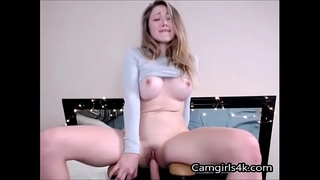 Girl With BIG Titts Rides a Dildo on Camgirls4k.com