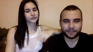 Pale teen suck her boyfriend on cam