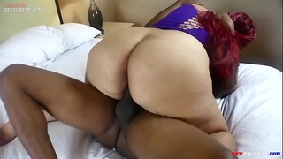 big butt blasian mixed girl Carmen Yung returns to ride big black cock on BBWHighway