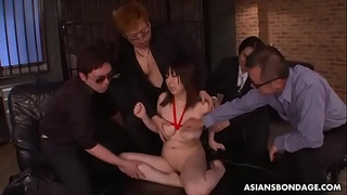 Submissive Asian bimbo tormented and ass fucked by horny gangsters