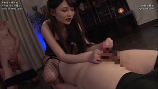 Asian mistress plays with one lucky slave