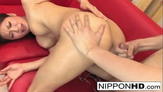 Hot Asian blows him and let'_s him shoot his load on her ass