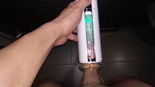 Circumcised Asian Chinese playing Fleshlight