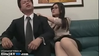 Japanese secretary satisfies tired boss