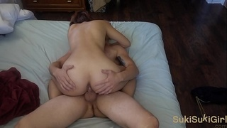 passionate amateur couple making love before school