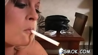 Inviting bitch in see-through clothes smokin'_ a cigarette