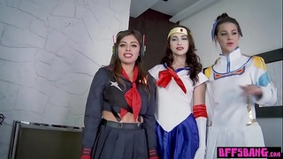 Busty cosplay teens loves uniforms and big cocks too