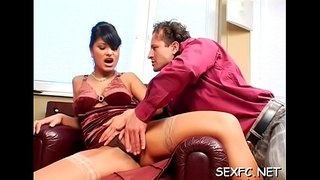 Lezzie babes standing clothed in a sensual blow job play