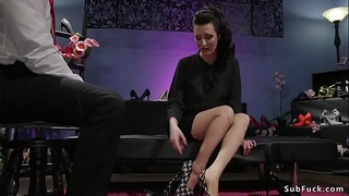 Busty dom anal fucks shoes shop owner