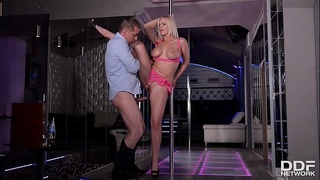 Blonde pole dancer Nathaly Cherie gets her ass fucked hard after striptease
