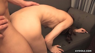 Pretty Asian lady Erena swallows dick and gets doggy styled