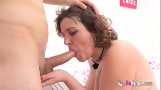 Mature woman, tired of a whoremonger husband, starts eating young cocks out